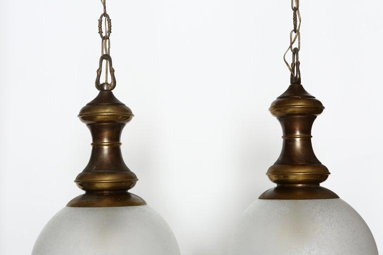 Italian Luigi Caccia Dominioni for Azucena attributed Pair of Ceiling Pendants For Sale