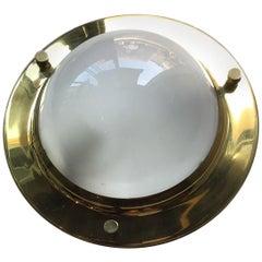 "Luigi Caccia Dominioni ""LPS6"" Tommi 1956 Brass Glass Ceiling Lights, Italy"