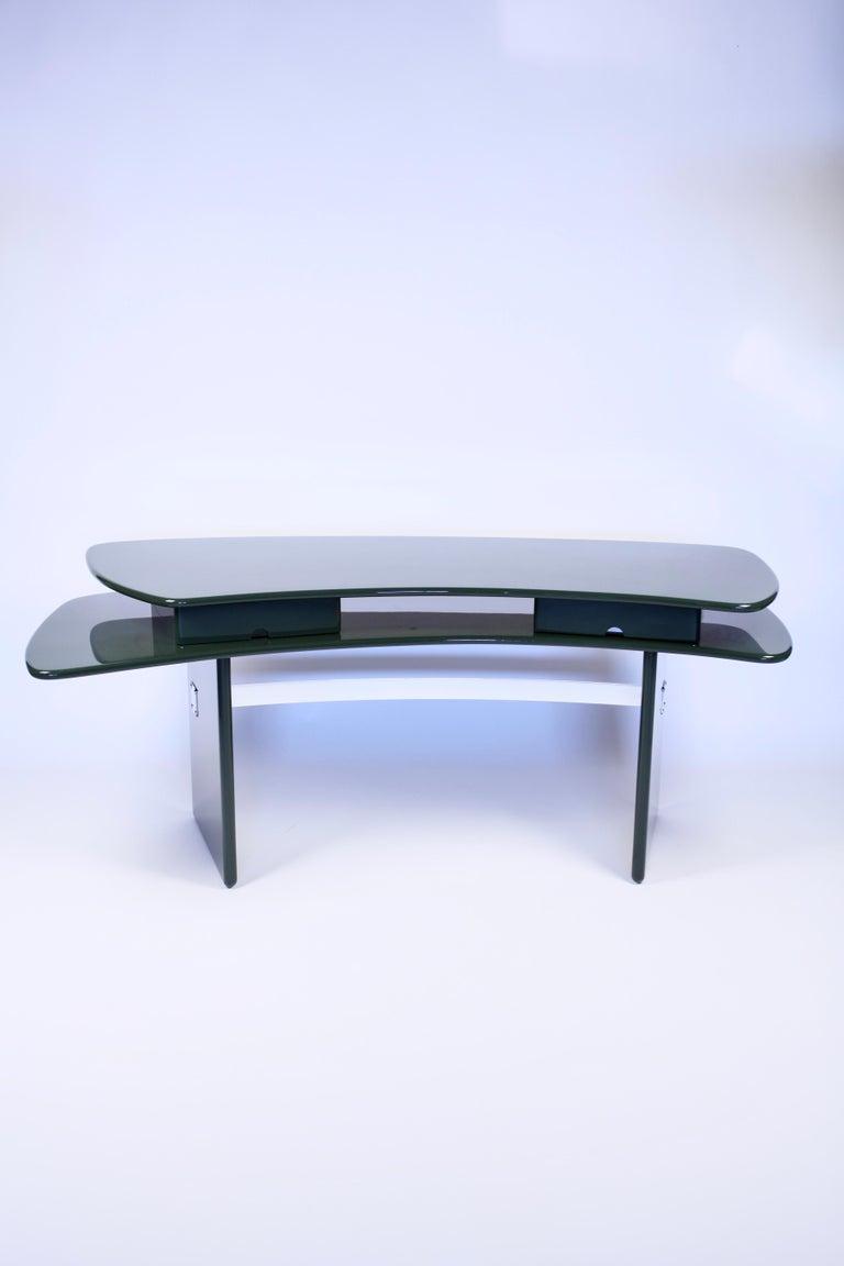 Luigi Caccia Dominioni, Sciabola Desk SCR7 in Dark Green, Edition Azucena, 1979 For Sale 4