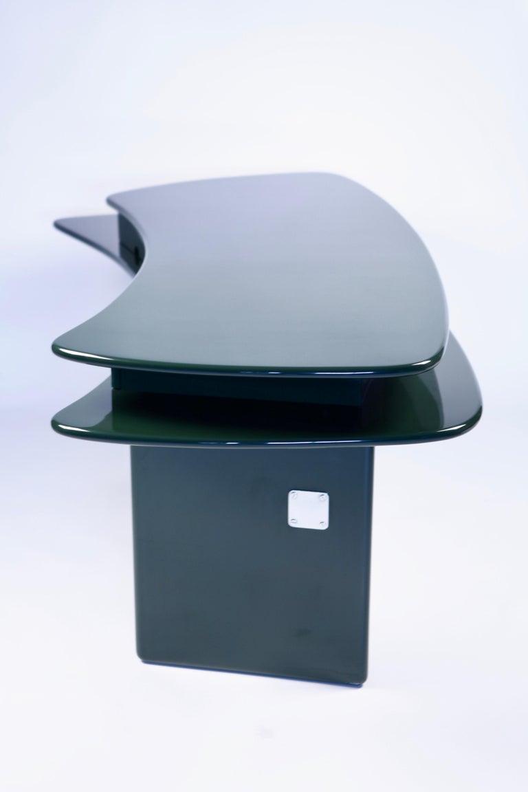 Luigi Caccia Dominioni, Sciabola Desk SCR7 in Dark Green, Edition Azucena, 1979 For Sale 6