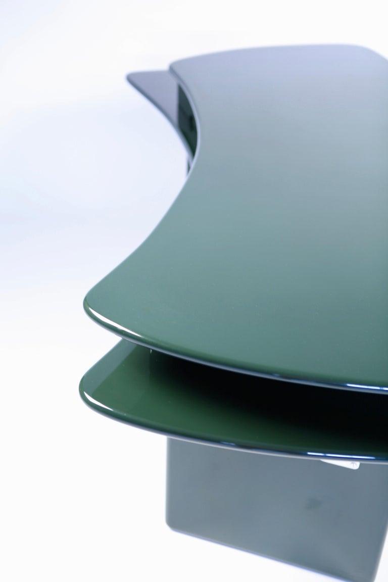 Luigi Caccia Dominioni, Sciabola Desk SCR7 in Dark Green, Edition Azucena, 1979 For Sale 7