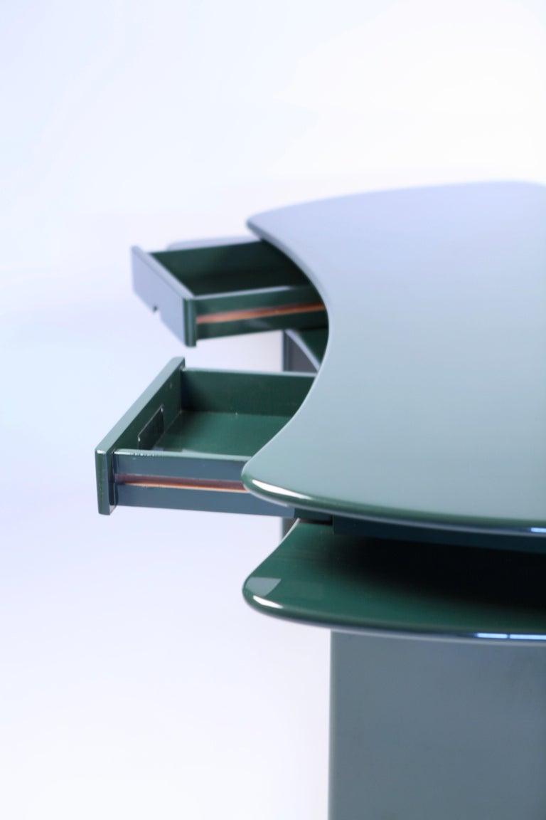 Luigi Caccia Dominioni, Sciabola Desk SCR7 in Dark Green, Edition Azucena, 1979 For Sale 8