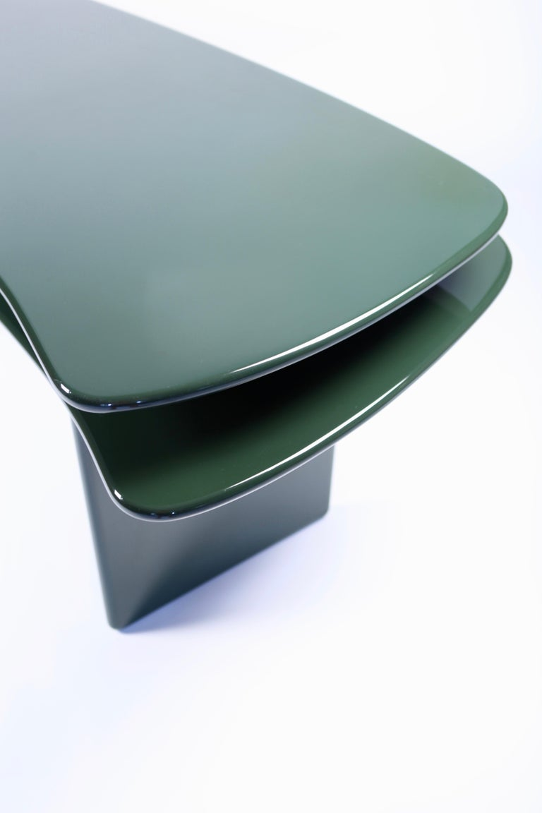 Mid-Century Modern Luigi Caccia Dominioni, Sciabola Desk SCR7 in Dark Green, Edition Azucena, 1979 For Sale