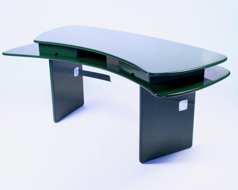 Lacquered Luigi Caccia Dominioni, Sciabola Desk SCR7 in Dark Green, Edition Azucena, 1979 For Sale