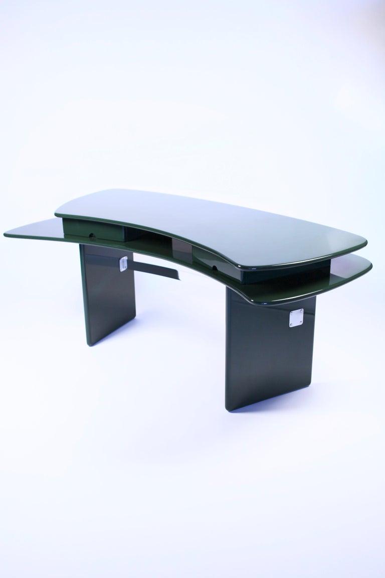 Late 20th Century Luigi Caccia Dominioni, Sciabola Desk SCR7 in Dark Green, Edition Azucena, 1979 For Sale
