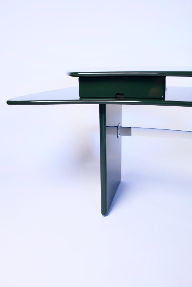 Chrome Luigi Caccia Dominioni, Sciabola Desk SCR7 in Dark Green, Edition Azucena, 1979 For Sale