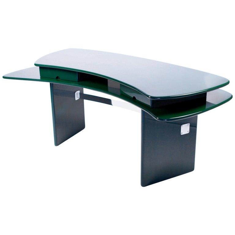 Luigi Caccia Dominioni, Sciabola Desk SCR7 in Dark Green, Edition Azucena, 1979 For Sale