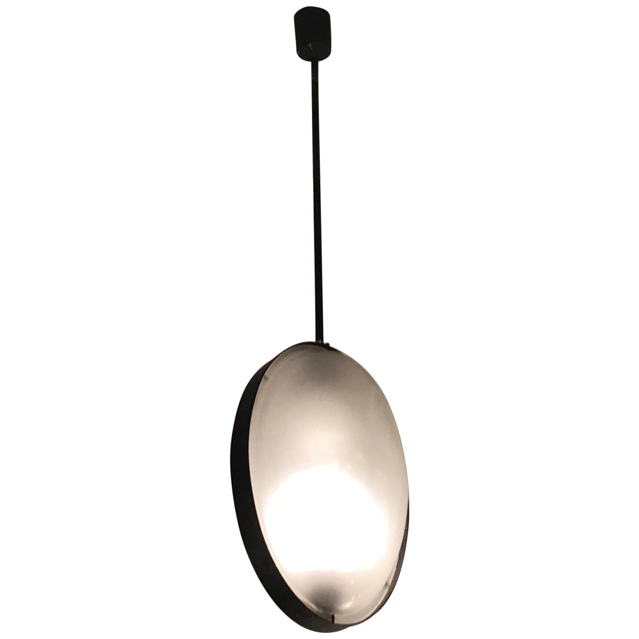 "Luigi Caccia Dominioni ""Stile"" Chandelier Glass Iron, 1960, Italy"