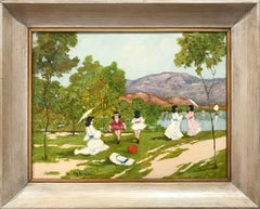 """A Day by the Lakeside"" Impressionist Scene of Figures Oil on Canvas Painting"