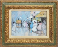 Antique Italian Impressionist Bustling Street Scene, Oil Painting Luigi Cagliani