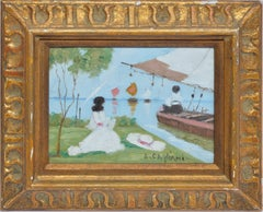 Antique Italian Impressionist River View, Oil Painting by Luigi Cagliani