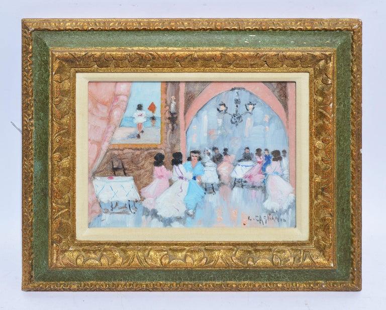 Antique Italian Impressionist Wedding Scene, Oil Painting by Luigi Cagliani For Sale 1