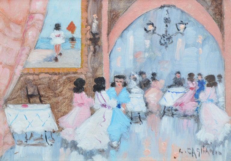 Antique Italian Impressionist Wedding Scene, Oil Painting by Luigi Cagliani For Sale 2
