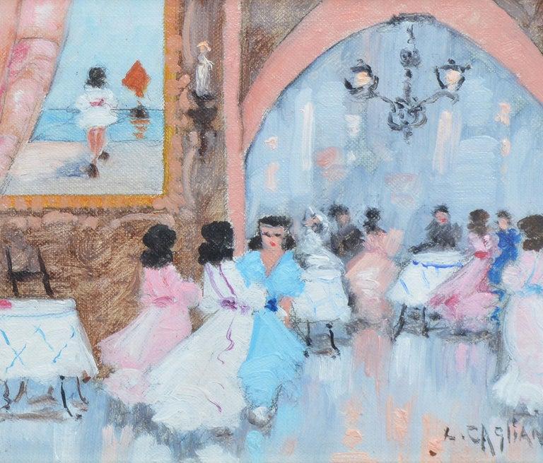 Antique Italian Impressionist Wedding Scene, Oil Painting by Luigi Cagliani For Sale 3