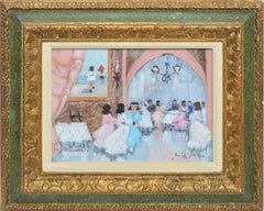 Antique Italian Impressionist Wedding Scene, Oil Painting by Luigi Cagliani