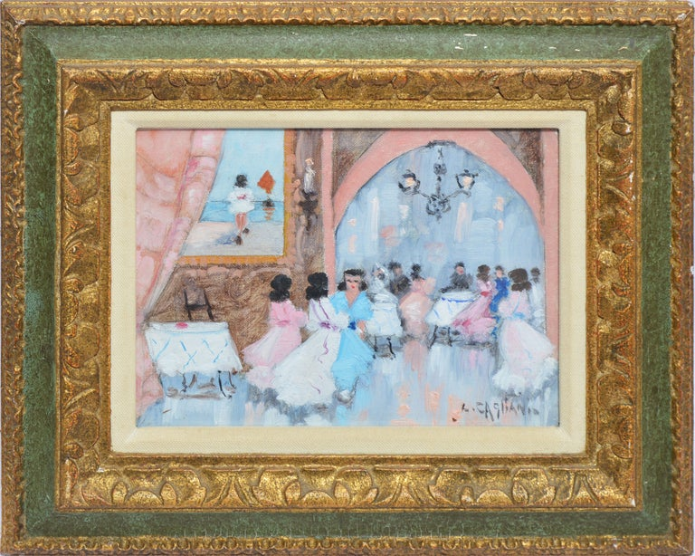 """Impressionist view of a wedding scene by Luigi Cagliani.  Oil on canvas, circa 1940.  Signed.  Displayed in a period giltwood frame.  Image, 8""""L x 6""""H, overall 12""""L x 10""""H."""