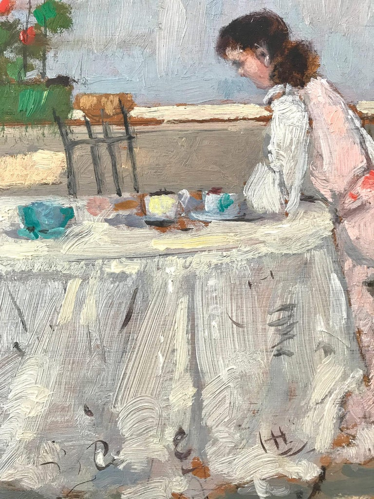 A whimsical oil painting depicting a Figure seated at a resturant cafe near the lake shore in Europe. As an Italian Impressionist artist, most of Cagliani's works were produced in the first half of the 20th Century. He was known for his charming