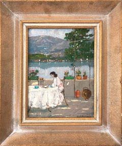 """Figure Seated near Lakeshore"" Impressionist Scene Oil Painting on Wood Board"