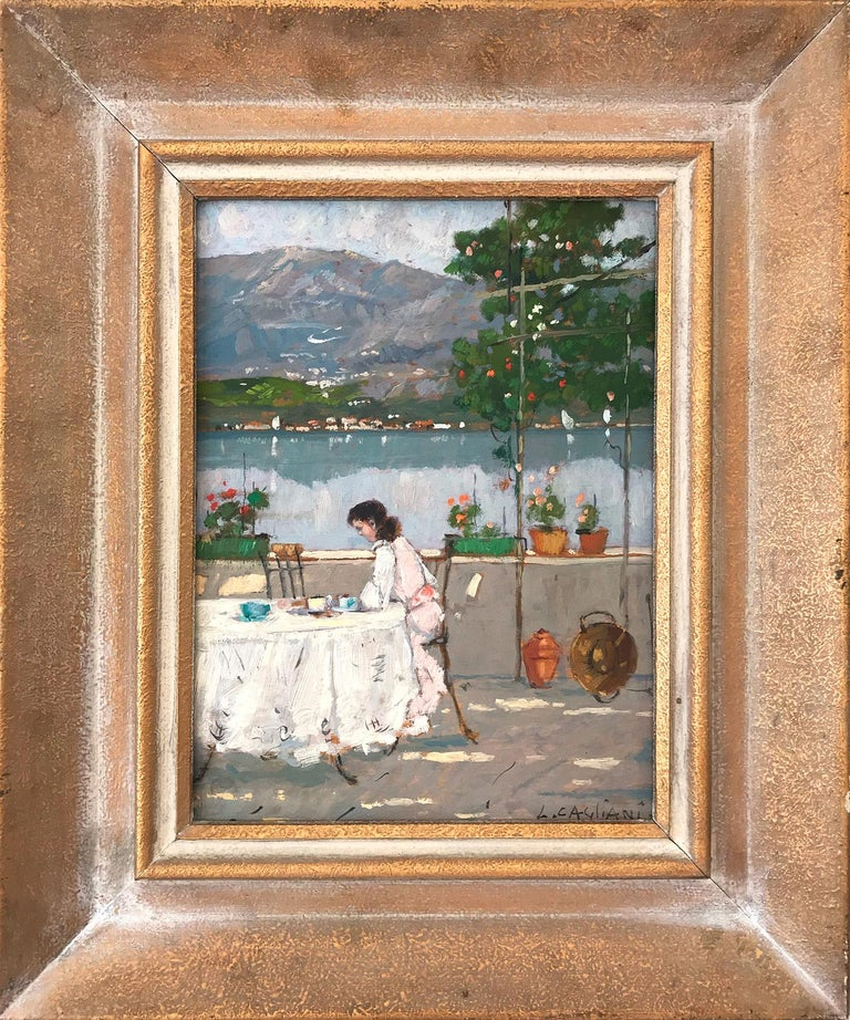 "Luigi Cagliani Figurative Painting - ""Figure Seated near Lake Shore"" Impressionist Scene Oil on Canvas Painting"