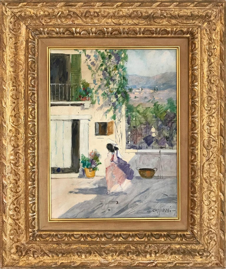 "Luigi Cagliani Figurative Painting - ""Italian Courtyard Scene with Figures"" Impressionist Oil on Canvas Painting"