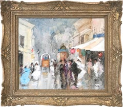 """Masquerade Parisian Street Scene Figures"" Impressionist Oil on Canvas Painting"