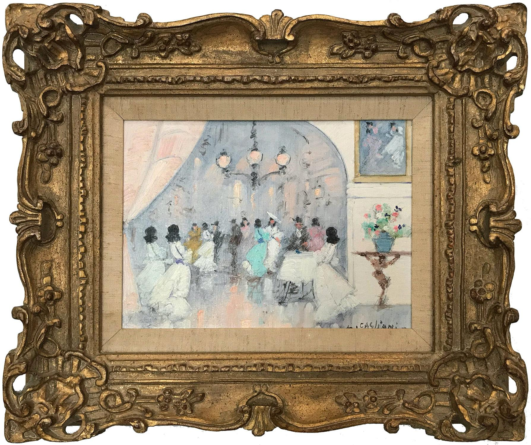"""Parisian Ballroom Scene with Figures"" Impressionist Oil Painting on Canvas"