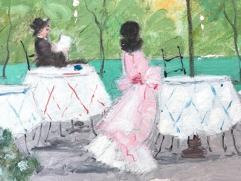 A whimsical oil painting depicting a cafe scene in Paris, France by Luigi Cagliani. As an Italian Impressionist artist, most of Cagliani's works were produced in the first half of the 20th Century. He was known for his charming compositions and