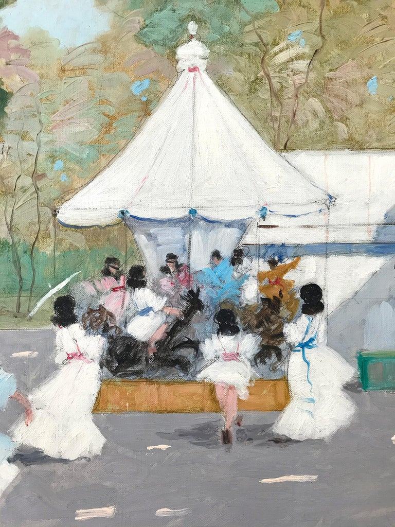 A whimsical oil painting depicting a Park with Ferris Wheel and Cafe in Paris, France by Luigi Cagliani. As an Italian Impressionist artist, most of Cagliani's works were produced in the first half of the 20th Century. He was known for his charming