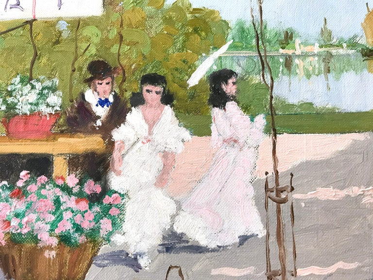 A whimsical oil painting depicting a Courtyard Scene with a cafe of figures in France by Luigi Cagliani. As an Italian Impressionist artist, most of Cagliani's works were produced in the first half of the 20th Century. He was known for his charming