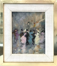 """Parisian Street Scene with Figures"" Impressionist Scene Oil on Canvas Painting"