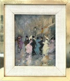 """Parisian Street Scene with Figures"" Impressionist Scene Oil on Canvas Painting"