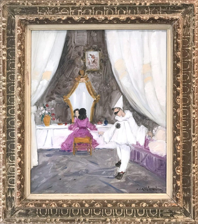 "Luigi Cagliani Interior Painting - ""Venetian Powder Room Scene with Figures"" Impressionist Oil Painting on Canvas"