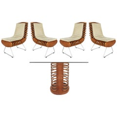 Luigi Colani for Aida Rattan Dining Table and Chair Set