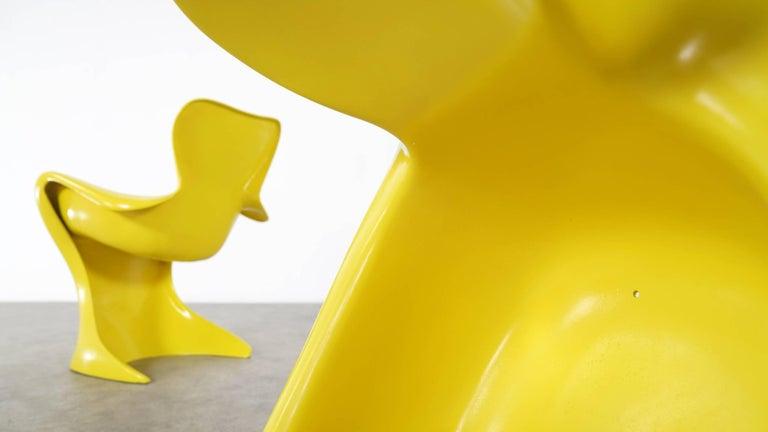 Luigi Colani, Set of Four Ultraorganic Lounge Chair, Yellow Fiberglass For Sale 4
