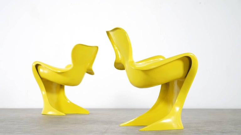 Luigi Colani, Set of Four Ultraorganic Lounge Chair, Yellow Fiberglass For Sale 6