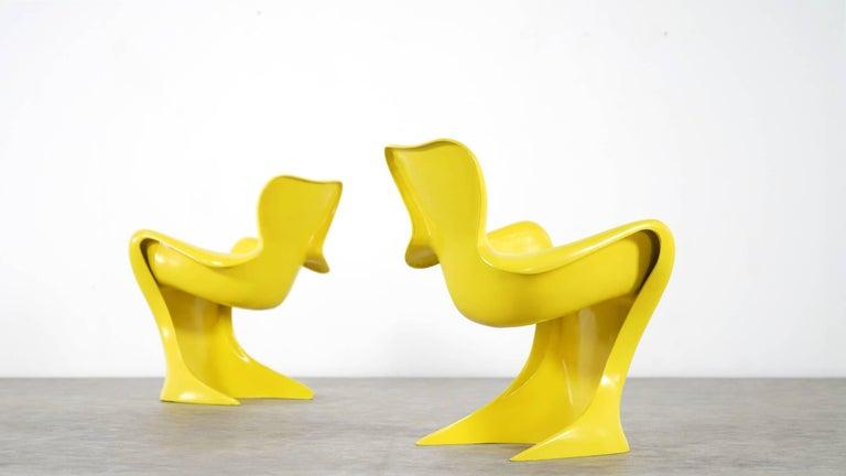 Luigi Colani, Set of Four Ultraorganic Lounge Chair, Yellow Fiberglass For Sale 14