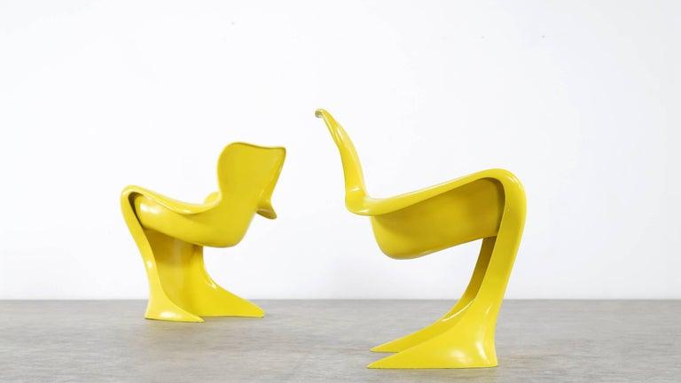Mid-Century Modern Luigi Colani, Set of Four Ultraorganic Lounge Chair, Yellow Fiberglass For Sale