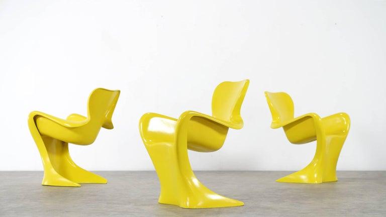 Mid-20th Century Luigi Colani, Set of Four Ultraorganic Lounge Chair, Yellow Fiberglass For Sale