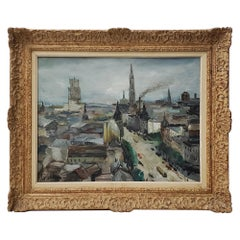 "Luigi Corbellini ""European Cityscape"" Original Oil Painting, circa 1950s"