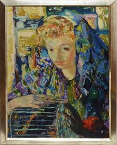 Antique Italian Impressionist Woman Portrait and Bird Cage, Luigi Corbellini