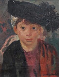 Luigi Corbellini, 'Portrait of Boy in Feathered Cap', circa 1930s, Oil on Canvas
