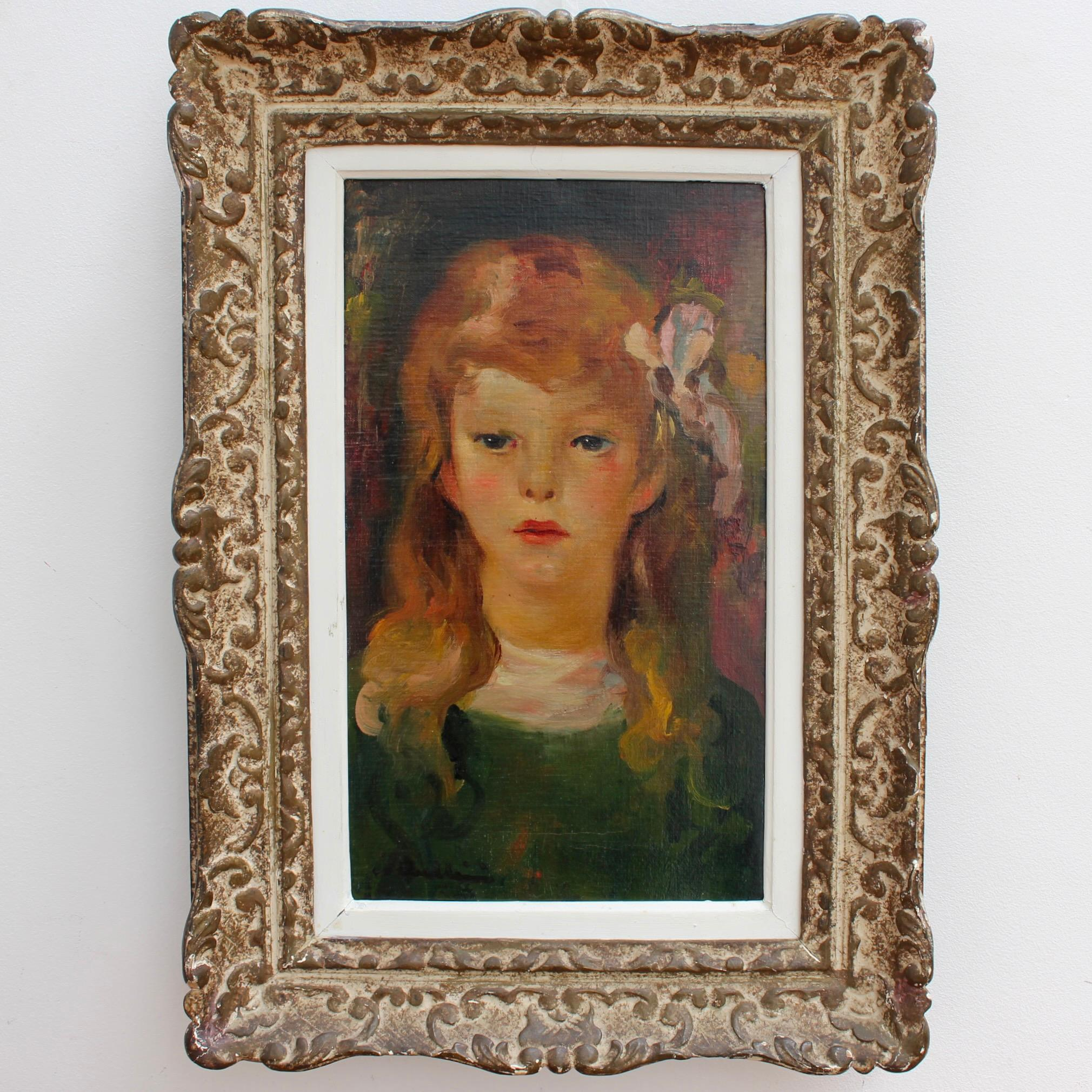 Portrait of Girl with Bow in Her Hair