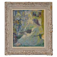 "Luigi Corbellini ""The White Horse"" Original Oil Painting, circa 1950s"