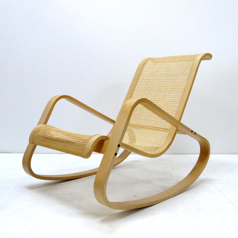 Iconic 'Dondolo' rocking chair Luigi Crassevig, Italy with cane on a solid steam bent beechwood frame, marked.