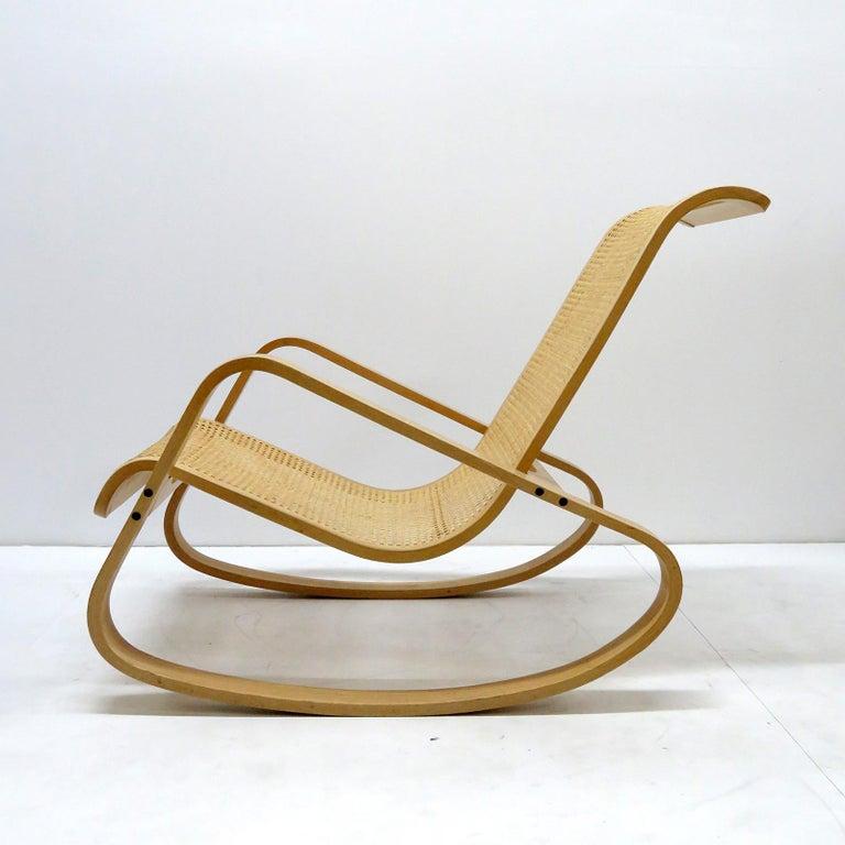 Mid-Century Modern Luigi Crassevig 'Dondolo' Bentwood Rocking Chair, 1970 For Sale