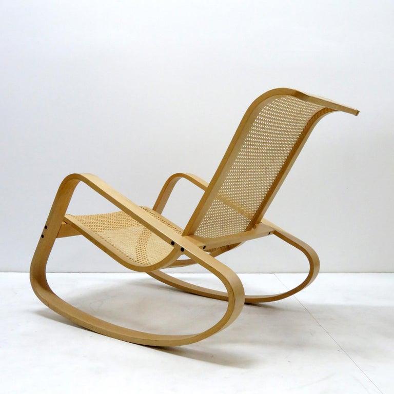 Italian Luigi Crassevig 'Dondolo' Bentwood Rocking Chair, 1970 For Sale
