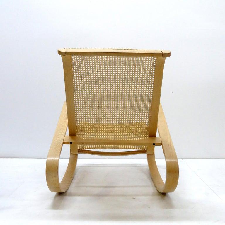 Woven Luigi Crassevig 'Dondolo' Bentwood Rocking Chair, 1970 For Sale