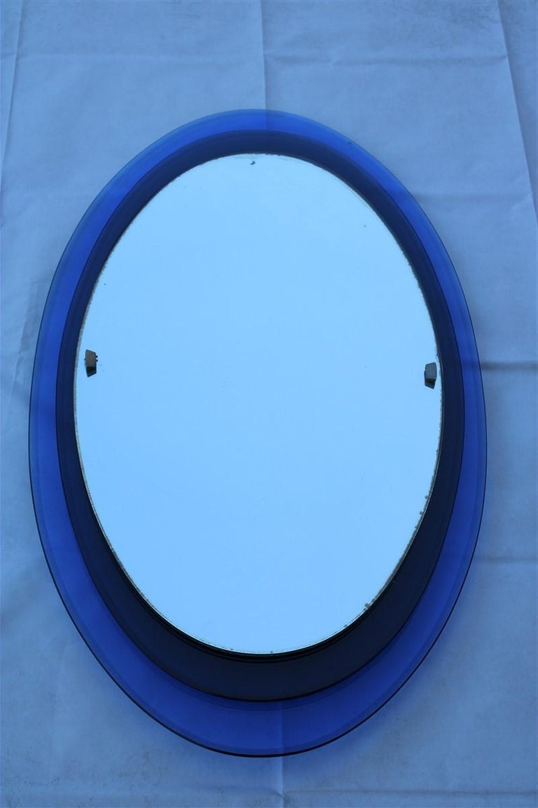 Luigi Fontana Arte Oval Wall Mirror Blue Cobalt Midcentury Max Ingrand, 1950s For Sale 4