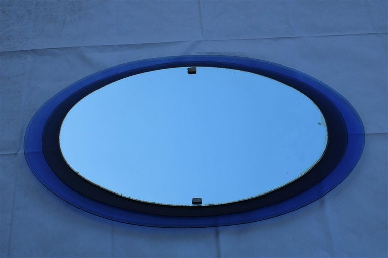 Luigi Fontana Arte Oval Wall Mirror Blue Cobalt Midcentury Max Ingrand, 1950s For Sale 5