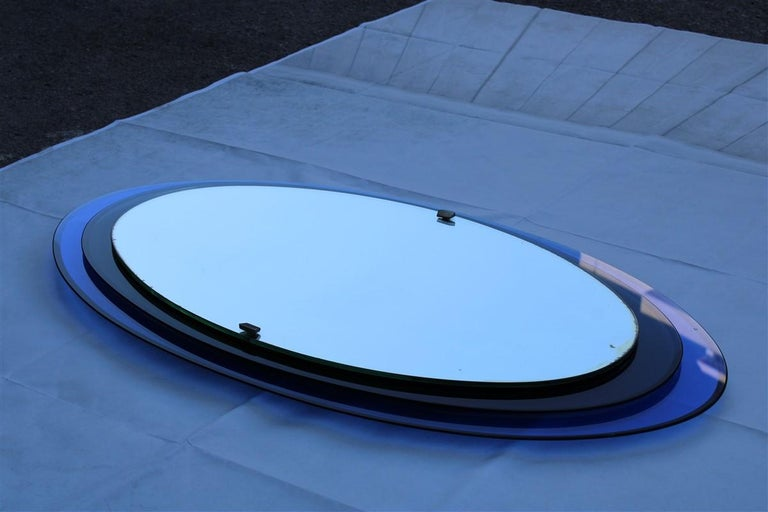 Italian Luigi Fontana Arte Oval Wall Mirror Blue Cobalt Midcentury Max Ingrand, 1950s For Sale